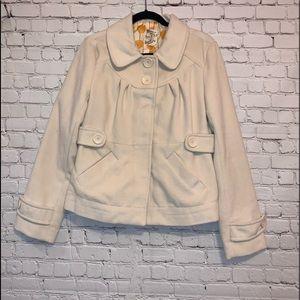 Tulle Cream Short Pea Coat